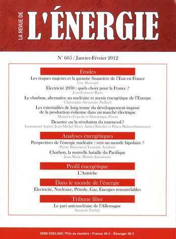 La revue de l'énergie, N° 605, Janvier-Févr : par Anne-Marie Epstein