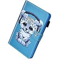 Herbests Compatible con Samsung Galaxy Tab E 9.6 T560 T561 Funda de Cuero PU Carcasa Cartera Flip Case Funda Magnética Ultra Delgada y Ligero con Función de Soporte,Leopardo