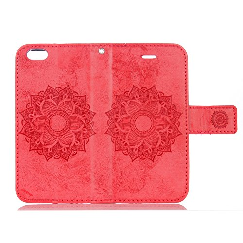 JIALUN-Telefon Fall Für IPhone 6 Plus & 6s Plus PU Ledertasche, reine Farbe geprägt mit Card Slot, Lanyard, Magnetische Schnalle, Flat Open The Phone Shell ( Color : Rose Gold ) Red