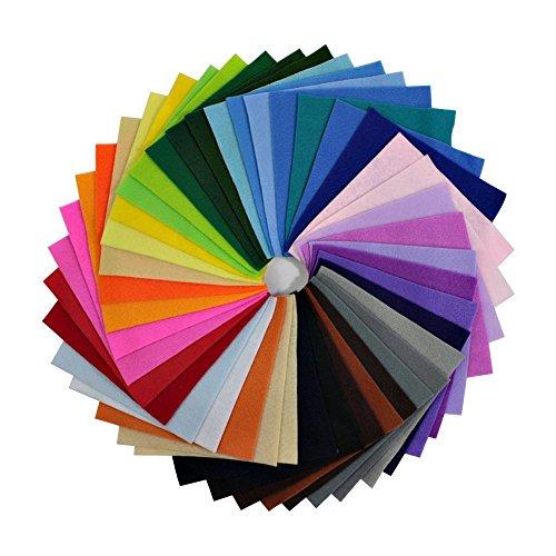 Wady DIY Polyester Soft Filz Stoff Quadrate Blatt Farben sortiert 15,2x 15,2cm für das Handwerk, 1,5mm dick, (Kostüm Diy Klammern)