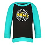 Clifton Baby Boys Raglan Printed Full Sleeve T-shirts -Black-Teal -Construction -24-30 Months