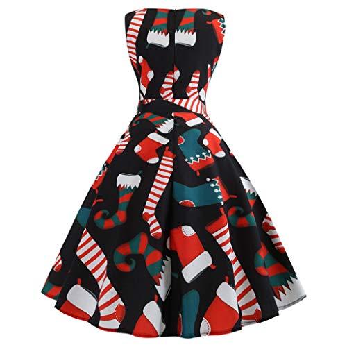 Soupliebe Damen Vintage Print Ärmellose Weihnachts Abend Party Swing Kleid Abendkleider Cocktailkleid Partykleider Blusenkleid