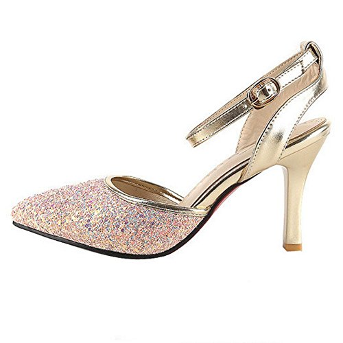 COOLCEPT Damen Stiletto Heels Geschlossene Sandalen Charm Glitter Wedding Party Shoes Pink