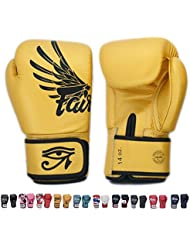 Fairtex Gloves Muay Thai Boxing Sparring BGV1 Size 8, 10, 12, 14, 16 oz in Black, Blue, Red, White, Pink, Yellow, Classic Brown, Emerald Green, Thai Pride, US, Nation, F-Day, Falcon, Breathable and more (Falcon Gold,16 oz) by Fairtex