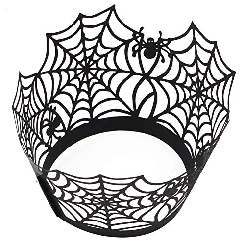 Cupcake Wrapper Backförmchen DIY Cupcake Wrappers Spider Web/Burg/Hexe Muster Spitze Cupcake Backförmchen Muffin Backform für Silvester Weihnachten Party, Schwarz, Free Size ()
