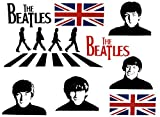 Unbekannt 18 tlg. Set: XXL Wandtattoo / Sticker - the Beatles Rockband Paul McCartney Ringo Star John Lennon George Harrison - Wandsticker Aufkleber