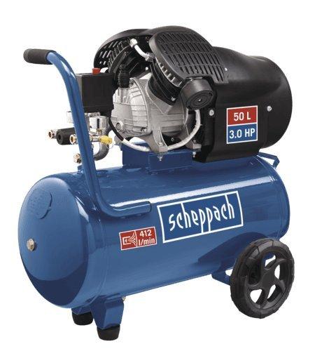 Scheppach 5906101901 Kompressor HC52DC | + Tank 50l, Druckminderer, Kupplungen, Manometer / Doppelzylinder / Fahrvorrichtung / Leistungsstark (3,0 PS Motor / Abgabe 272 l/min / 40 kg / 230 V) -
