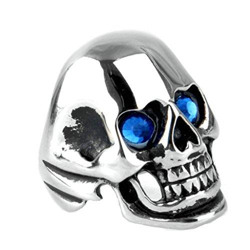 Blisfille Joyería Anillos Rockeros Anillos Hombre Calavera Acero Anillos de Titanio Anillo de Cráneo Anillo Azul Talla 27