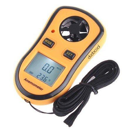 Galleria fotografica KKmoon Anemometro Digitale Tester di Velocità del Vento Termometro Anemometer