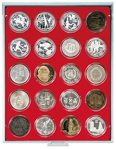 Preisvergleich Produktbild Münzenbox mit 20 Vertiefungen á 48 mm Ø (Lindner 2520), z.B. für Lindner Münzenkapseln 41 / 42 mm Ø innen - Ausführung: Standard