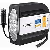 Suaoki RCP - Compresor de aire digital, bomba inflador portátil con luz LED (12V, 100 PSI, 2 adaptadores boquilla, 0.47m aire manguera, 3m cable con mechero, para neumáticos, objetos inflables)