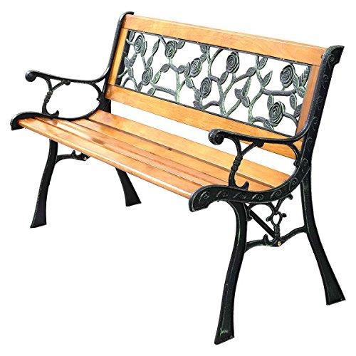 Gartenbank Parkbank Sitzbank Holzbank Gusseisen/Hartholz im romantischen Rosendesign 125x52x73cm - 4