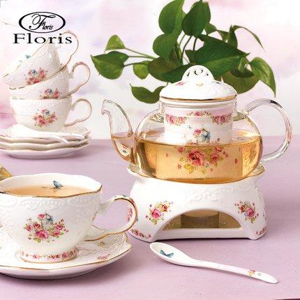 Porzellan Teeservice mit Stövchen im Landhausstil für 4 Personen – Pink – Tasse / Untertasse / Glaskanne / Sieb / Löffel / Stövchen