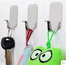 Buyworld 6Pcs Stainless Steel Self Adhesive Stick Wall Hook Hanger Bathroom Kitchen Doors Holder Sticker