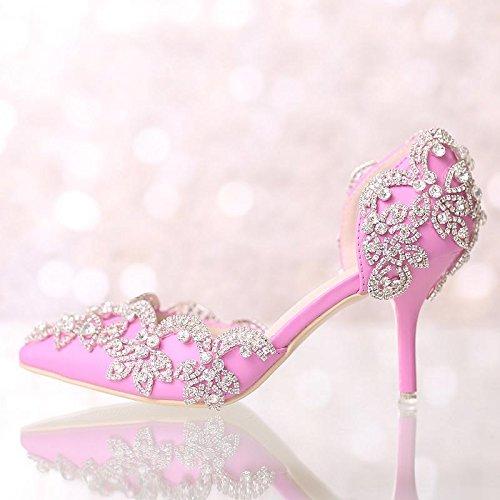 Si& Hochzeitsschuhe der Frauen / Brautjungfer und Braut / Strass Blumen / Stiletto Ferse / spitze Zehe / High-heels Sandalen Pink