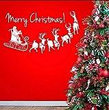 Lvabc Merry Christmas Santa Sleigh Wallpaper Removable Decals Living Room Holiday Art Decoration Vinyl Wall Decals Bedroom Murals 42X76Cm