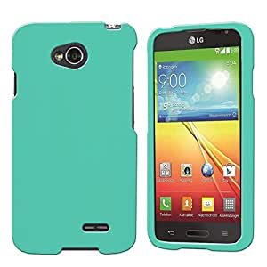 LG Optimus L70 (Metro PCS) Slim Light Hybrid Snap On Non-Slip Matte Hard Case Protex Rubberized Rubber Coating Protective Case - Mint - Retail Packaging