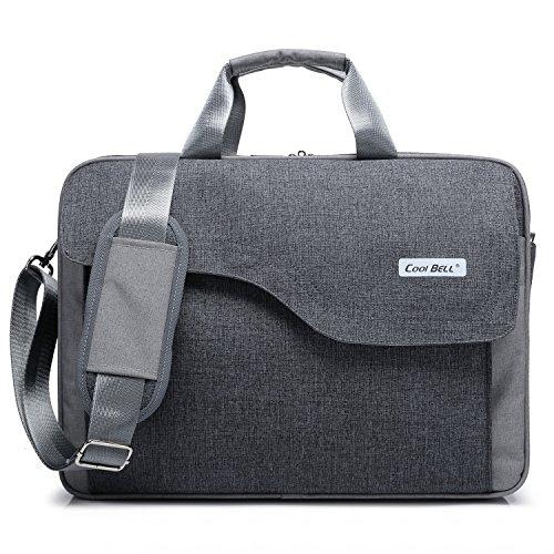 CoolBELL 15,6 Zoll Laptop Tasche Nylon Schultertasche mehrfach Abteil Messenger Bag Handtasche Tablet Aktentasche für Laptop / Tablet / Macbook,Grau (Messenger Gepäck Laptop)