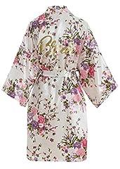 Idea Regalo - YAOMEI Donna Sposa Kimono Vestaglia Pigiama Sleepwear, di Seta RasoFiori di ciliegio Robe Accappatoio Damigella d'Onore Pigiama S-2XL (Busto: 126 cm, Fit S-2XL, Bianco Bride)