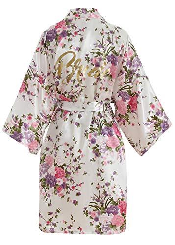 Braut-robe (YAOMEI Damen Braut Brautjungfer Morgenmantel Kimono Satin Nachtwäsche Bademantel Robe Funkeln Kirschblüten Negligee Schlafanzug S-2XL (Fehlschlag: 126 cm, Fit für S bis 2XL, Weiß Braut))