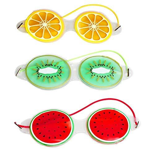 3 STÜCKE Wiederverwendbare Kühlung Augenmaske Patch Gel Augenmaske Obst Zitrone Wassermelone Erdbeer Form Für Augenringe Migräne Kopfschmerzen Trockenes Auge Allergie Müdigkeit Schmerzlinderung