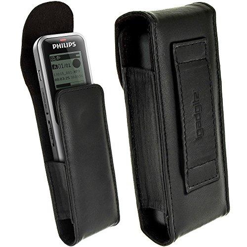 igadgitz Schwarz Echt Leder Tasche Schutzhülle Hülle Etui Case für Philips VoiceTracer DVT1200 DVT2000 DVT1110 DVT1150 Digitale Diktiergeräte
