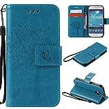 Samsung Galaxy S4 Mini Hülle, Xf-fly® PU Leder Flip Wallet Case Cover Schutzhülle für Samsung Galaxy S4 Mini I9190 (4.3 Zoll) Katzen Schmetterlinge Baum Präge Design Tasche Schutz Etui Schale Handyhülle (Blau)