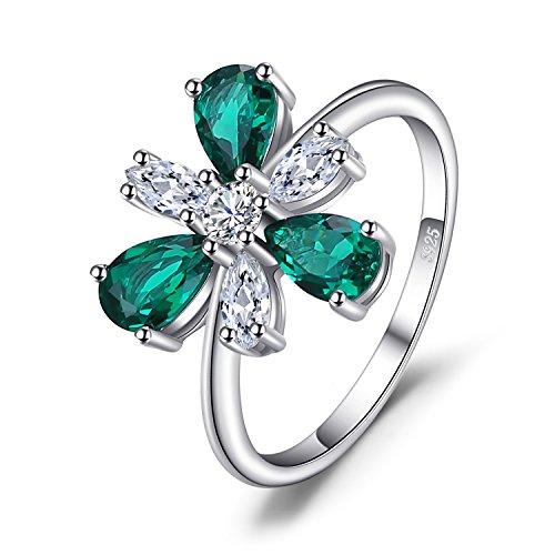 4ct Birnenform Nano Russische Simulierte Smaragd Blume Aussage Ring 925 Sterling Silber ()
