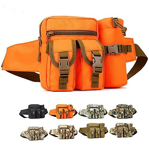 Erasky Sport Hüfttasche Tactical mit Trinkflasche und verstellbarem Bauchgurt/Gürteltasche Handytasche für Camping Wandern Outdoor/Mode Multifunktionale Kit Bag Orange