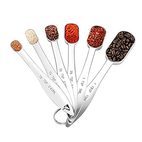 Measuring Spoons, Glamouric 18/8 Stainless Steel Measure Spoon Set of 6 for Measuring Dry and Liquid Ingredients, Narrow Shape Easily Fits in Spice Jars