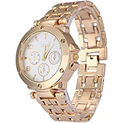 Luxury Analog Women Watches Business Casual Wristwatch Golden Stainless Steel Watchband Quartz Watch #QbO