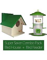 BackToNest Bird House Nest Box for Sparrow, Finches and Garden Birds BVN5 with Bird Feeder Combo