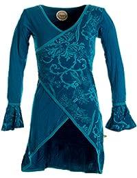 Vishes – Alternative Bekleidung – Asymmetrisches Lagenlook Baumwollkleid mit Rüschen – bedruckt