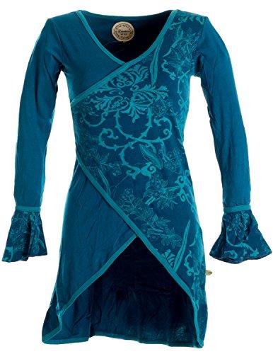 Vishes – Alternative Bekleidung – Asymmetrisches Lagenlook Baumwollkleid mit Rüschen – Bedruckt türkis ()