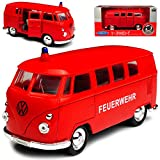 Welly Volkwagen T1 Feuerwehr Rot Bully Bus 1950-1967 ca 1/43 1/36-1/46 Modell Auto