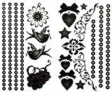 SPESTYLE wasserdicht ungiftig temporäre Tätowierung stickerslatest neue Release 1 Packung mit 2 Stück wasserdicht Schmuck Schwalbe Blume Herz und Stern Tattoos