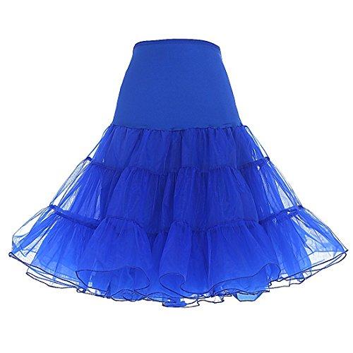 O.D.W Vintage 50s Hoopless Tüllrock Rock des Mädchens Röcke Swing Kleid Krinoline Tutu 50er Jahre Unterrock Half Slip (Königsblau, - 50er Jahre Swing Dance Kostüm