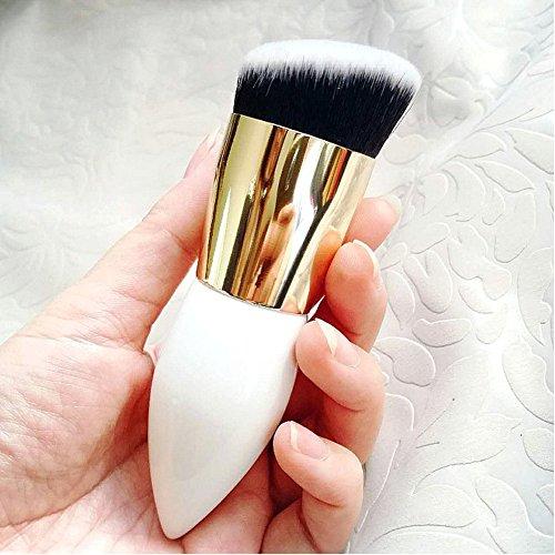 Qinlee 1 pièces Pinceaux de Maquillage Fond De Teint Blush Poudre Liquide Crème Cosmetics Pinceaux(Blanc)