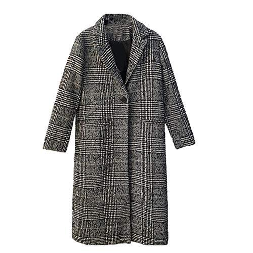 IOSDH8 Frauen Plaid Langen Mantel Langarm Wollmantel lose Outwear weibliche Winter Herbst Trenchcoats Plus Größe, M (Plus Größe Winter Mantel Wolle)