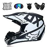 MRDEAR Motorrad Crosshelm Motocross Helm mit Brille Handschuhe Maske Motorrad Netz, Schwarz und Weiß, Off Road Helm Kit Motorradhelm Schutzhelm für ATV Downhill MTB Sicherheit Schutz,M