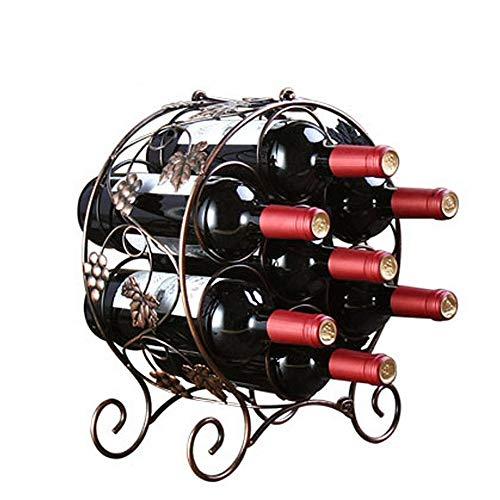 Susulv-HGWR Weinflaschenhalter Runde Design Tabletop Weinflasche Stand freistehende Metall Wein Lagerregal Halter für 7 Weinflaschen Barock Vintage Design Kupfer Farbe Bar Zeitgenössisches Weinregal