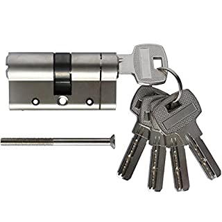 SEPOX 30 (INT) X 30 (EXT) Anti-Bump Euro Cylinder Nickel Plated Lock Brass Euro Cylinder Barrel Anti Snap Bump High Security Euro Cylinder with 5 x Keys Standard 6-Pin Lock 60mm Overall