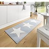 Alfombra de cocina, con estrellas, en color azul y gris, aprox. 67 x 180 cm