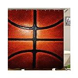 KnSam Duschvorhang Badewannevorhang Basketball Wasserdicht Anti-Schimmel inkl. 12 Duschvorhangringe Bad Vorhang für Badezimmer - Rot Schwarz 150x200cm