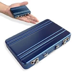 Mini Mallette *BLEU* Attached Case Porte Cartes Aluminium Visite Métal Rigide Credit Cards Holder Wallet BL