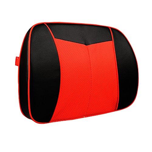 Preisvergleich Produktbild Tofern Auto Home-Office-Sitzkissen Memory-Schaum Lordosenstütze Kissen Verstellbar Schmerzlinderung Rückenkissen - schwarz und rot
