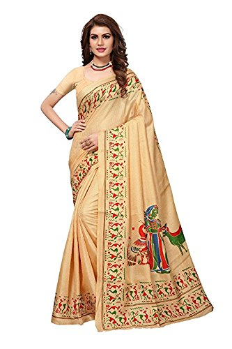 Fashionesta Latest Women Cotton Silk Saree with Extra Broket Blouse(10 COLOR) (Cream)