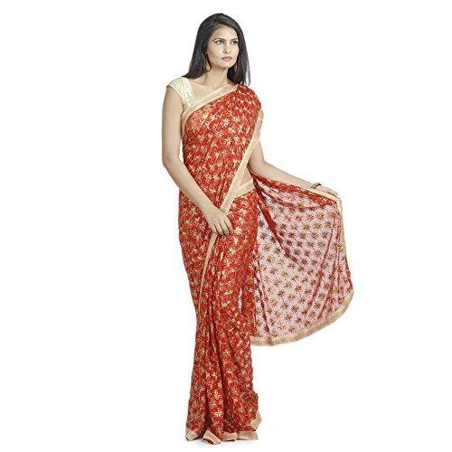 Ethnic Bliss Lifestyles Women's Chiffon Saree (Eblphksr-Mc-Red-A2_Red)