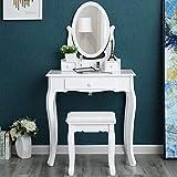 Songmics Schminktisch 3 Schubladen mit Spiegel Hocker Weiß 70 x 130 x 40 cm (B x H x T) RDT004