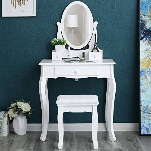 Songmics Schminktisch 3 Schubladen mit Spiegel Hocker, weiß, 70 x 130 x 40 cm (Kleiner Schminktisch Mit Spiegel)